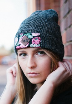 FLOWER BEANIE Dark Grey